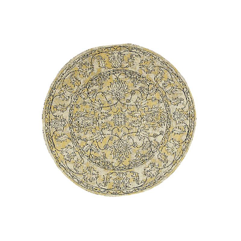 Celeste Chenille & Cotton Bohemian Boarder Round Rug, 120cm, Mustard