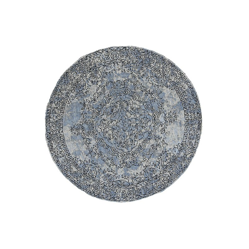 Celeste Chenille & Cotton Bohemian Medallion Round Rug, 120cm, Blue