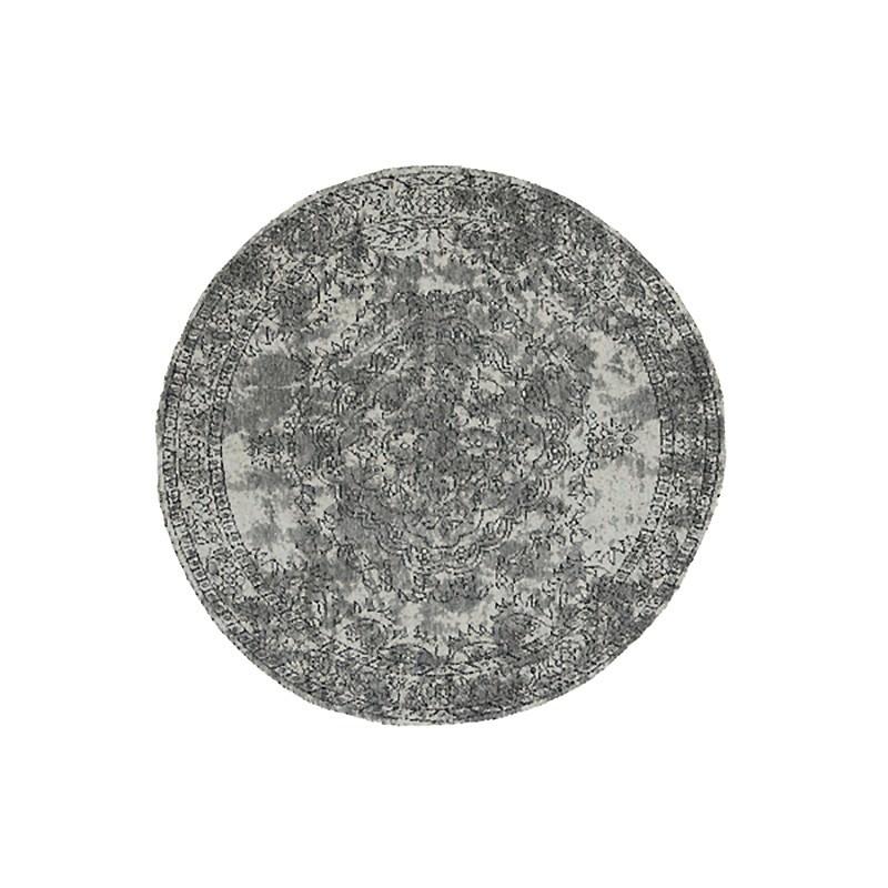 Celeste Chenille & Cotton Bohemian Medallion Round Rug, 120cm, Grey