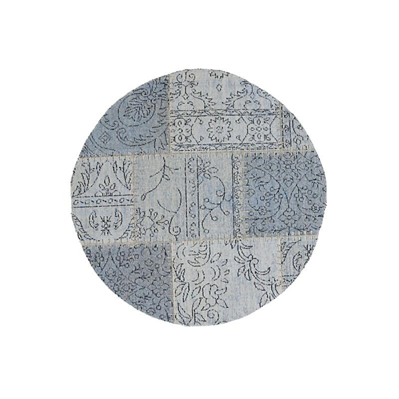 Celeste Chenille & Cotton Bohemian Patchwork Round Rug, 120cm, Blue