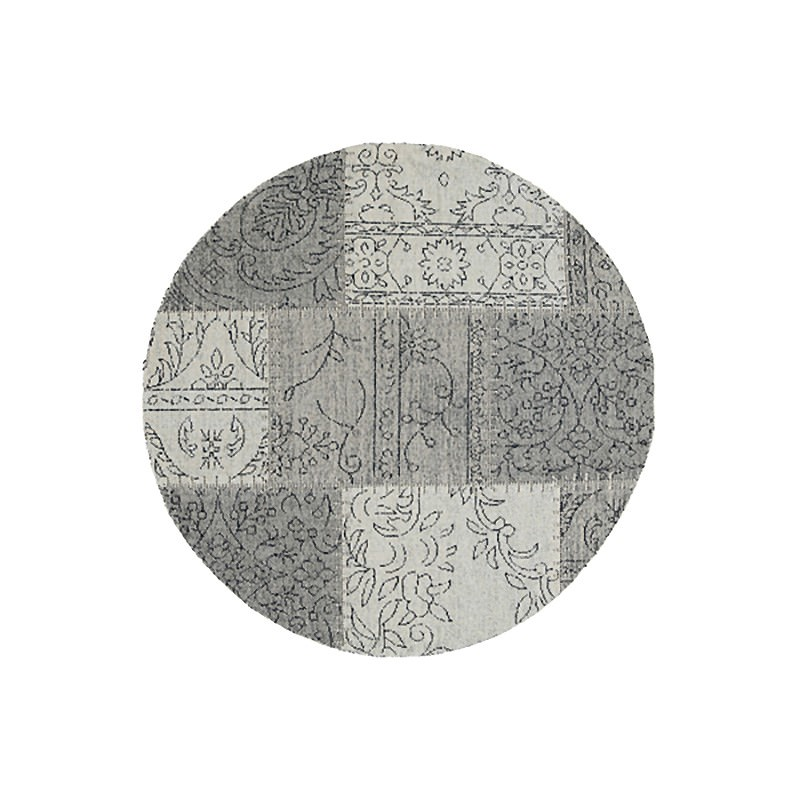 Celeste Chenille & Cotton Bohemian Patchwork Round Rug, 120cm, Grey