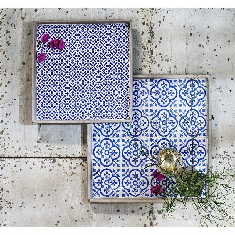 Marinos 2 Piece Ceramic Decor Tray Set