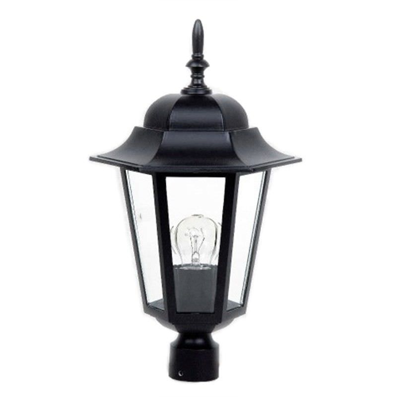 Byron Large Cast Aluminium IP33 Exterior Post Lantern Top with Fitter - Black