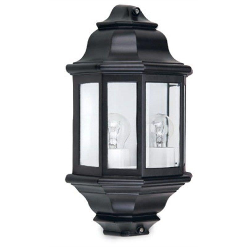 Perth Cast Aluminium IP33 Exterior 2 Light Wall Light - Black