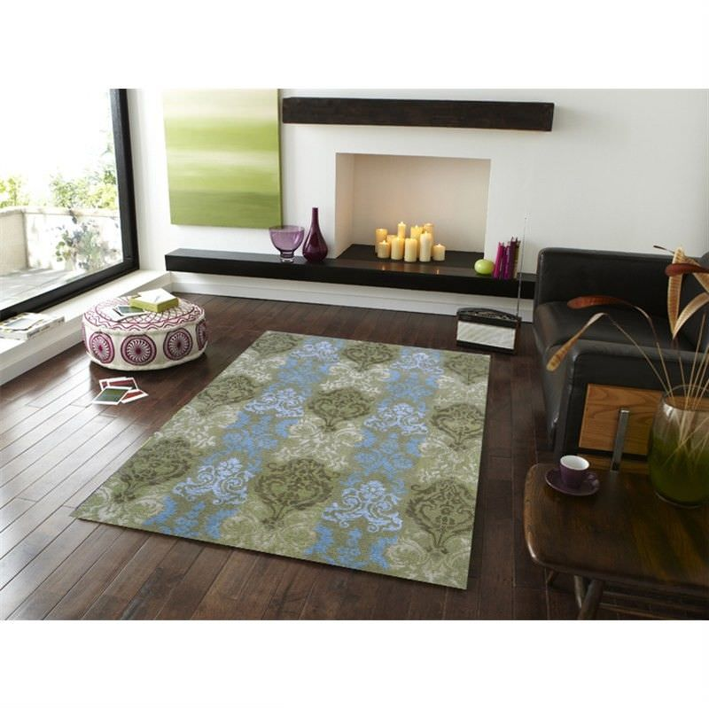 Botanical Modern Style No.1067 Wool and Silk Rug in Green - 110x160cm