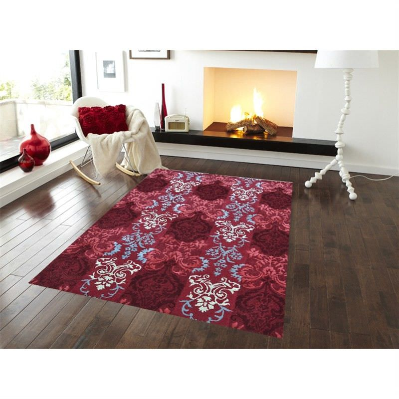 Botanical Modern Style No.1067 Wool and Silk Rug in Red - 110x160cm