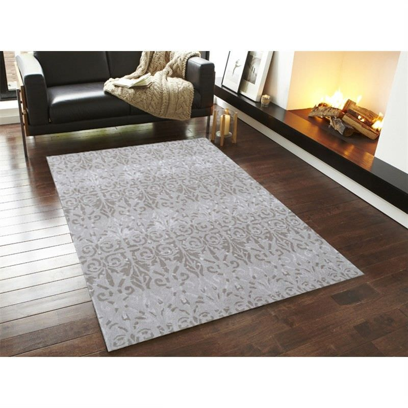 Botanical Modern Style No.1071 Hand Tufted Wool Rug in Beige - 160x230cm