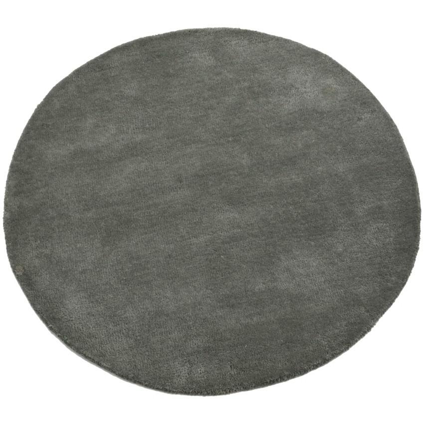 Bulloo Handmade Round Wool Rug, 90cm, Grey