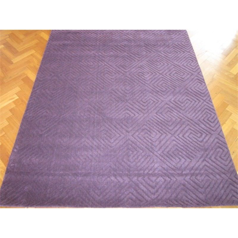 Elite Handwoven 100% Wool Rug in Purple - 110x160cm