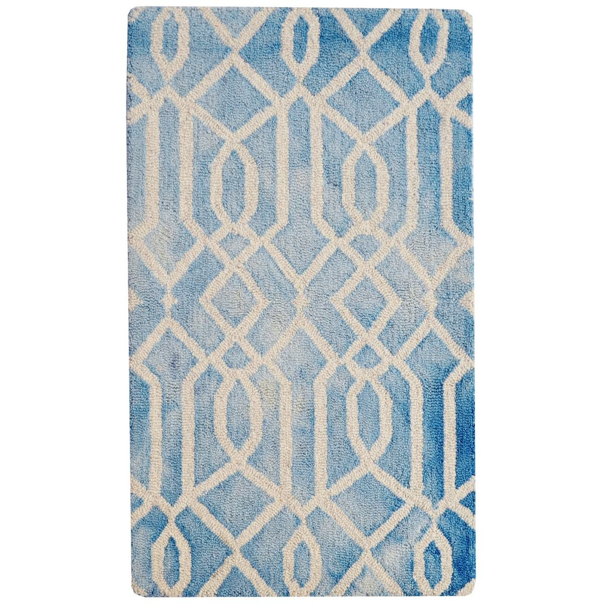 Maryland Tie Dye Wool Rug, 90x60cm, Aqua