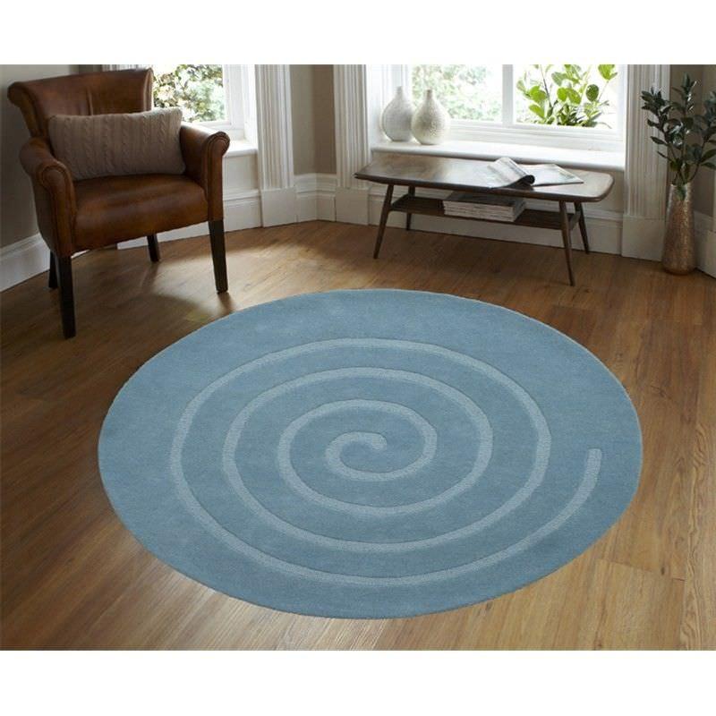 Round Wool Rug - Swirl - Aqua - (160cm Diameter)