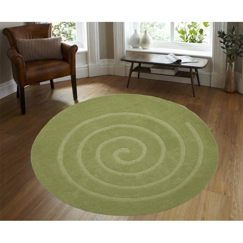 Round Wool Rug - Swirl - Green - (160cm Diameter)