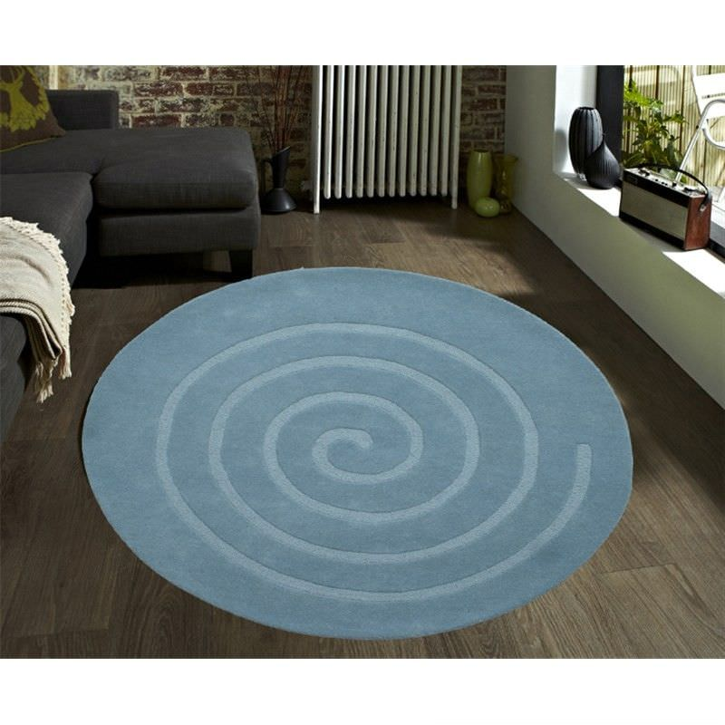 Swirl Handwoven 100% Wool Round Rug in Light Blue - 160x160cm