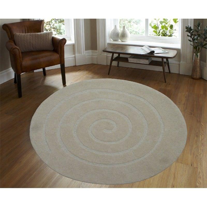 Round Wool Rug - Swirl - White - (160cm Diameter)
