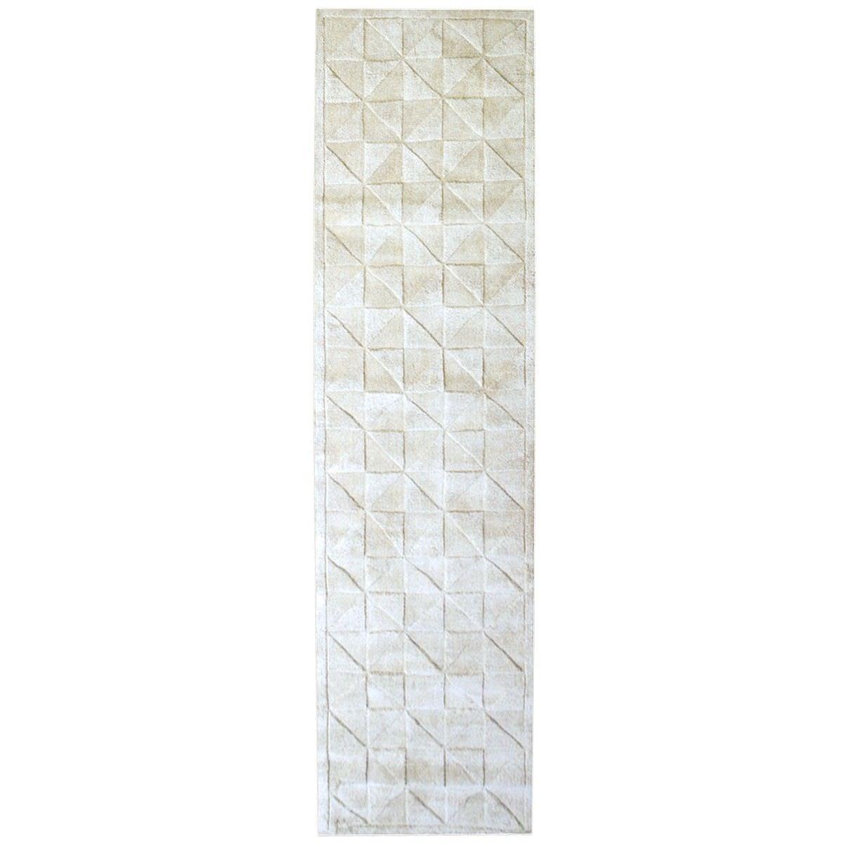 Caberston Modern Wool Runner Rug, 300x80cm, Ivory