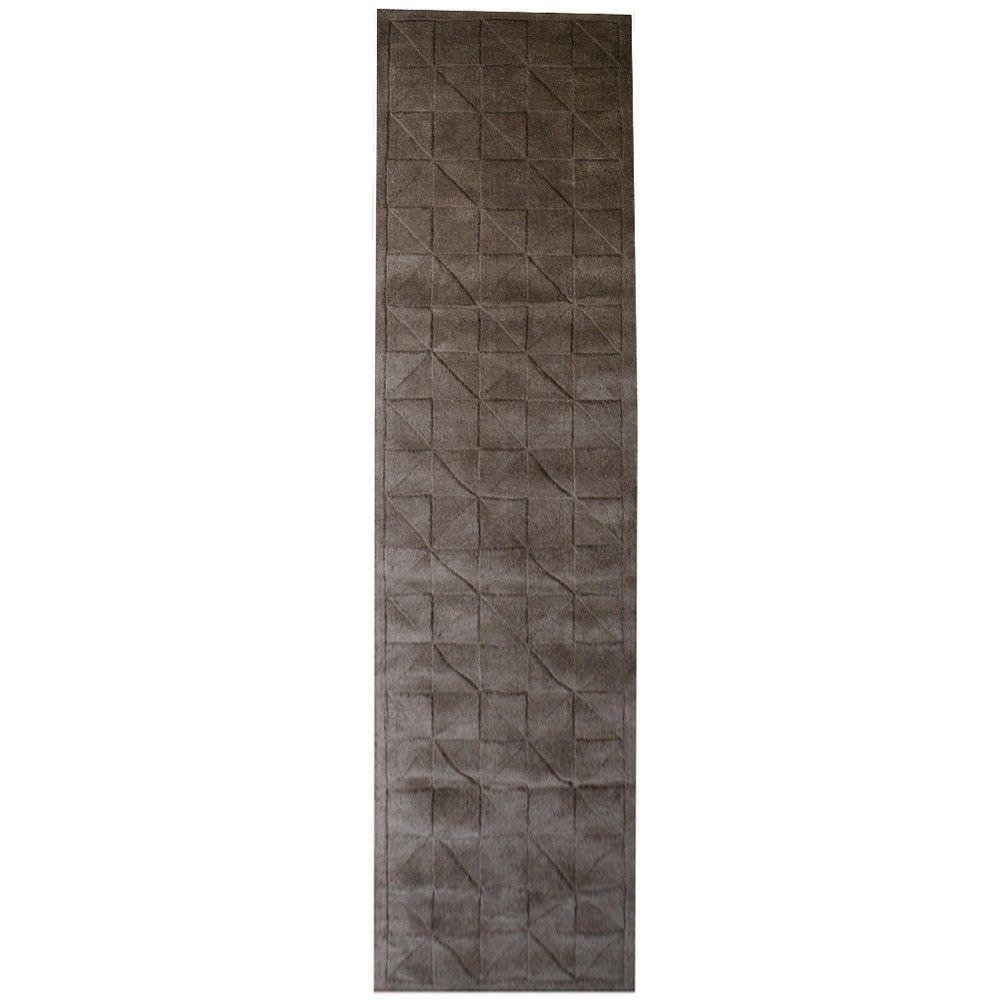 Caberston Modern Wool Runner Rug, 300x80cm, Dark Brown