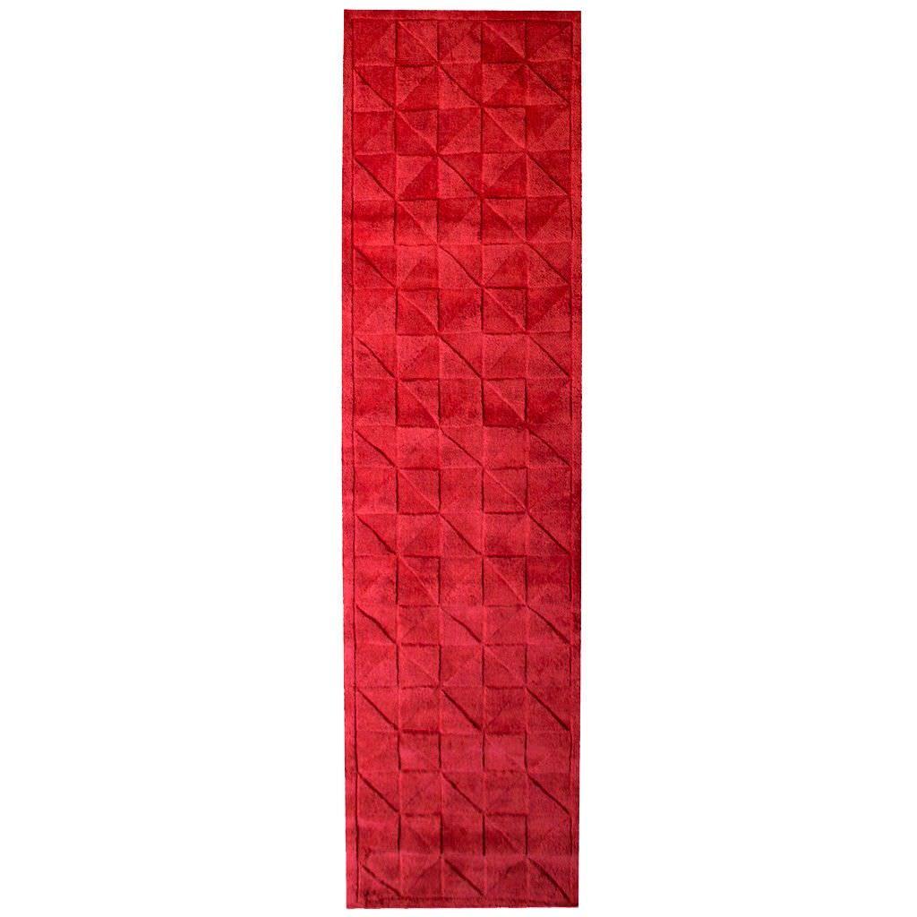 Caberston Modern Wool Runner Rug, 300x80cm, Red