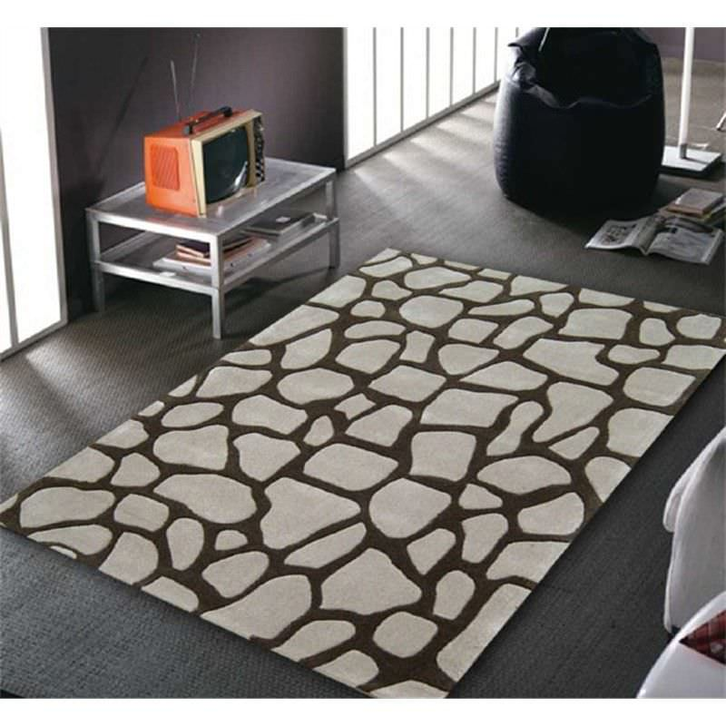 Stone Effect Rug in Beige and Light Brown - 165x115cm