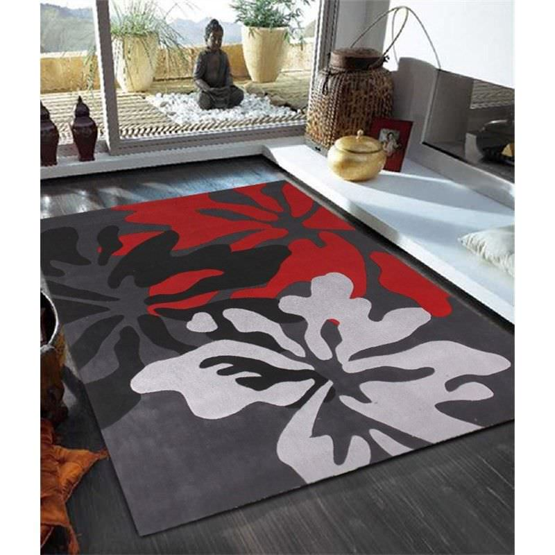 Ultra Modern Rug in Charcoal and Red - 280x190cm