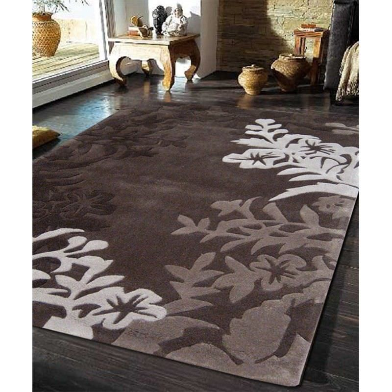 Silhouette Vine and Leaf Rug in Brown - 280x190cm