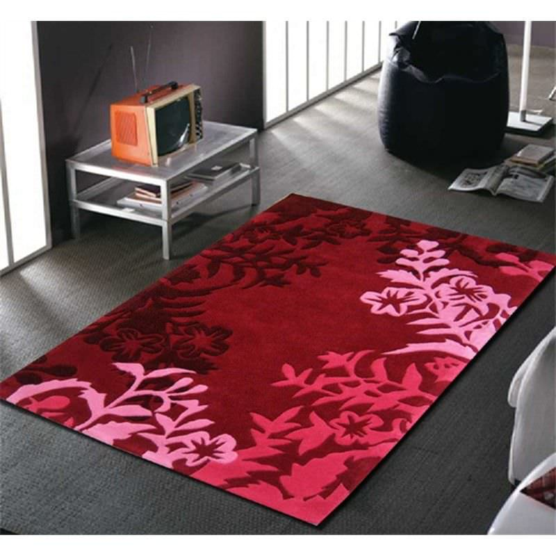 Silhouette Vine and Leaf Rug in Red - 165x115cm