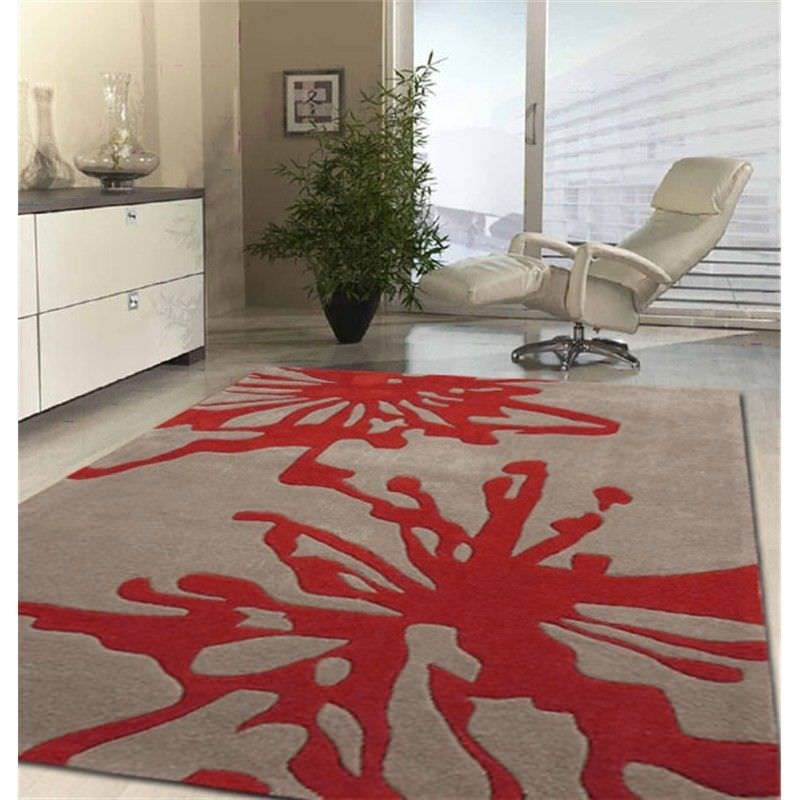 Latest Design Rug in Beige and Red - 225x155cm