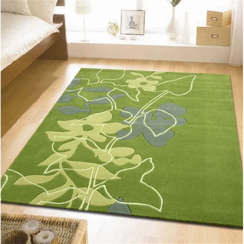 Leaf and Vine Rug in Green - 225x155cm