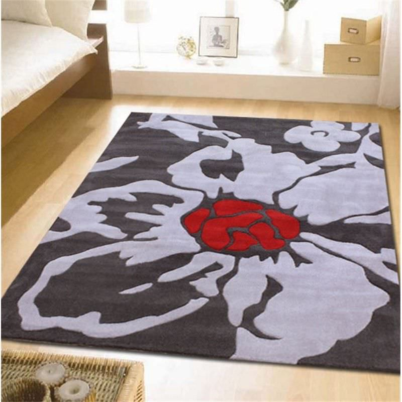 Modern Floral Rug in Charcoal - 280x190cm
