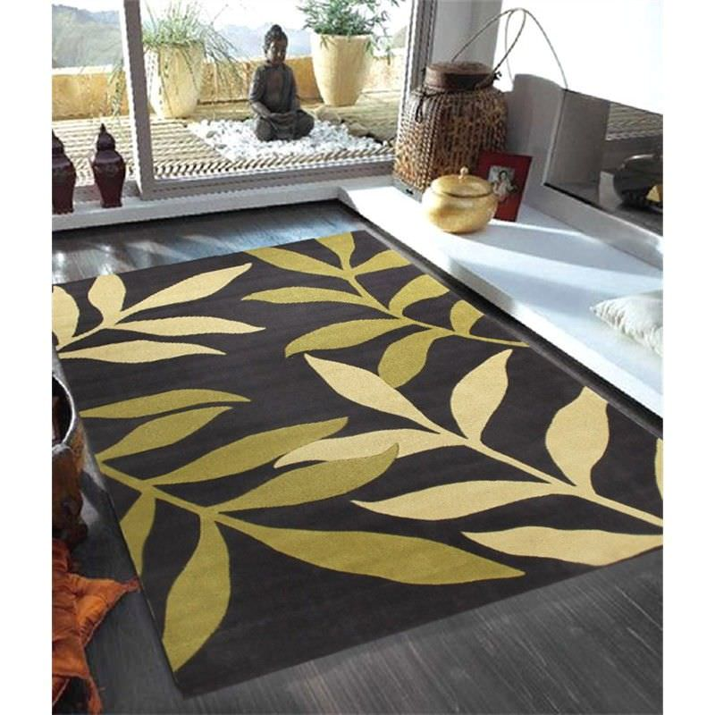 Stunning Leave Design Rug in Green and Charcoal - 225x155cm