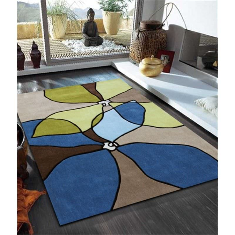 Organic Flower Design Rug in Blue - 225x155cm