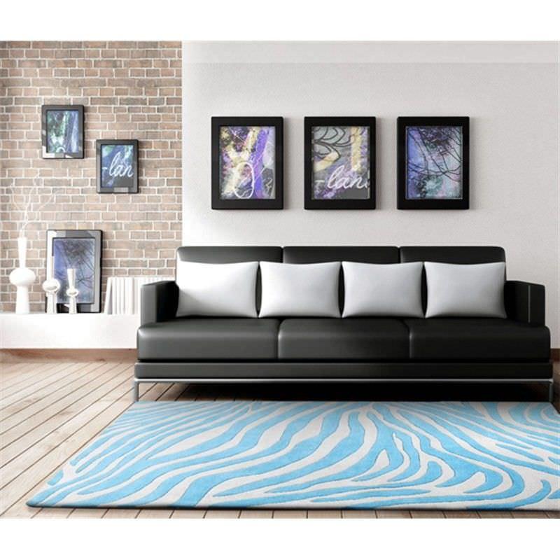 Zebra Delux Rug in Blue - 225x155cm