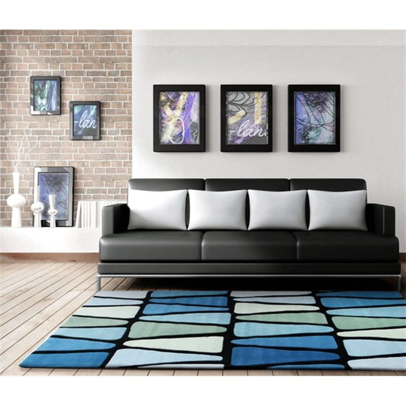 Rock Star Modern Rug in Blue and Green - 225x155cm