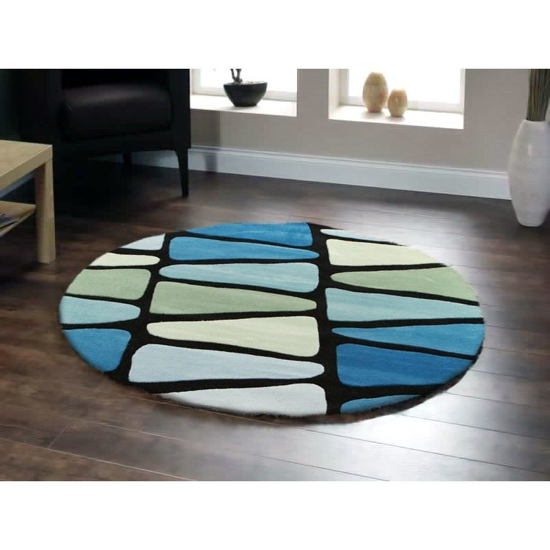 Rock Star Modern Round Rug in Blue and Green - 150x150cm
