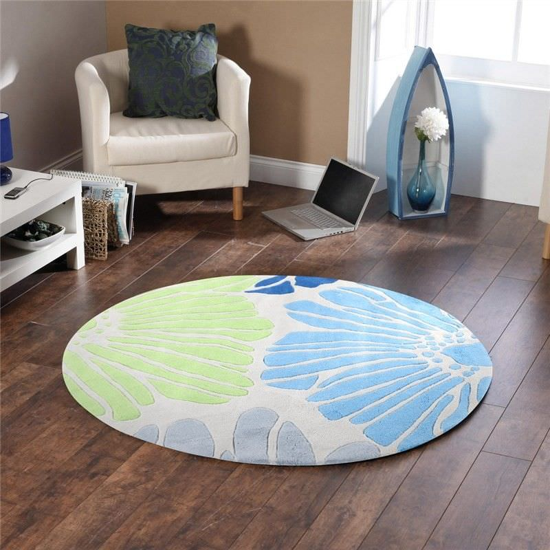Spring Flowers Round Rug in White and Blue - 150x150cm