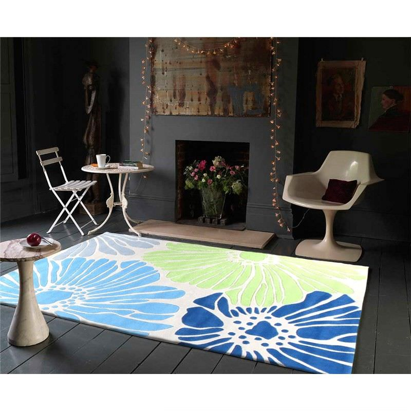 Spring Flowers Rug in White and Blue - 280x190cm