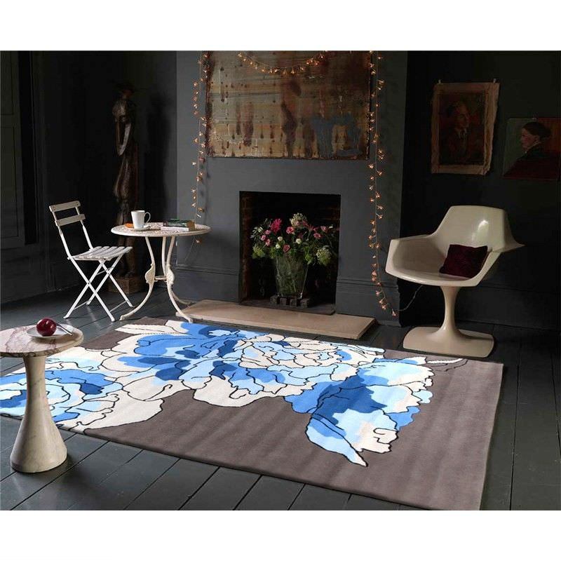 Blossoms Taupe Rug in Blue - 165x115cm