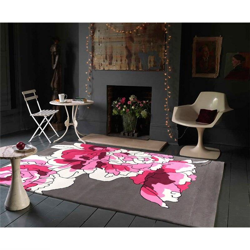 Blossoms Taupe Rug in Rose - 165x115cm