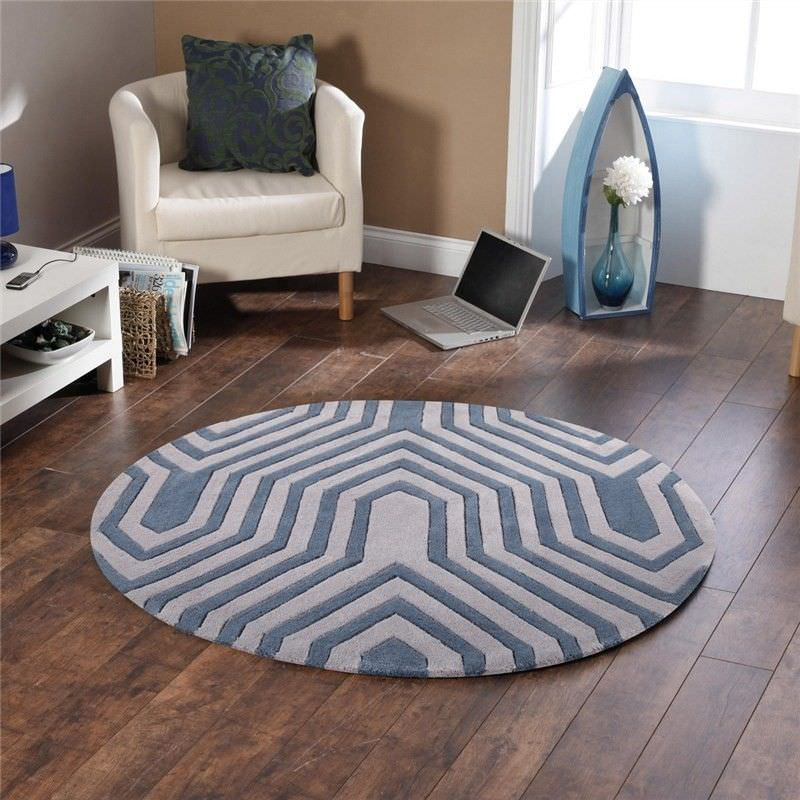 Circuit Board Round Rug in Taupe - 150x150cm