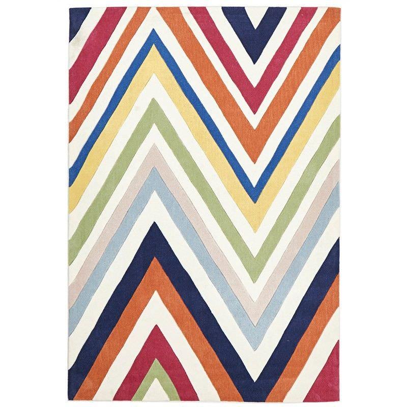 Narris Chevron Hand Tufted Rug in Rainbow - 165x115cm