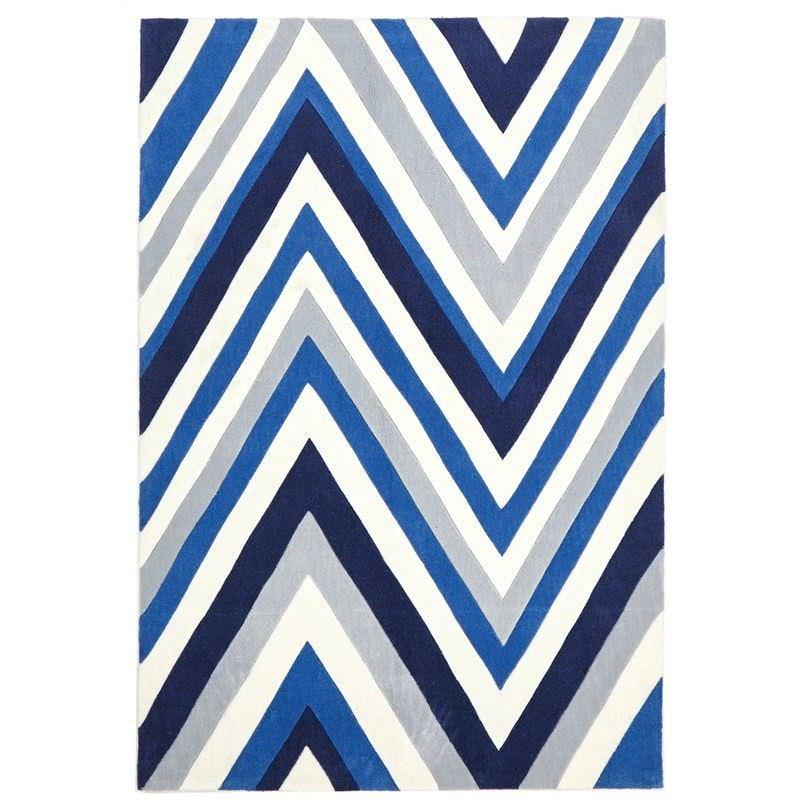 Narris Chevron Hand Tufted Rug in Blue Tone - 225x155cm