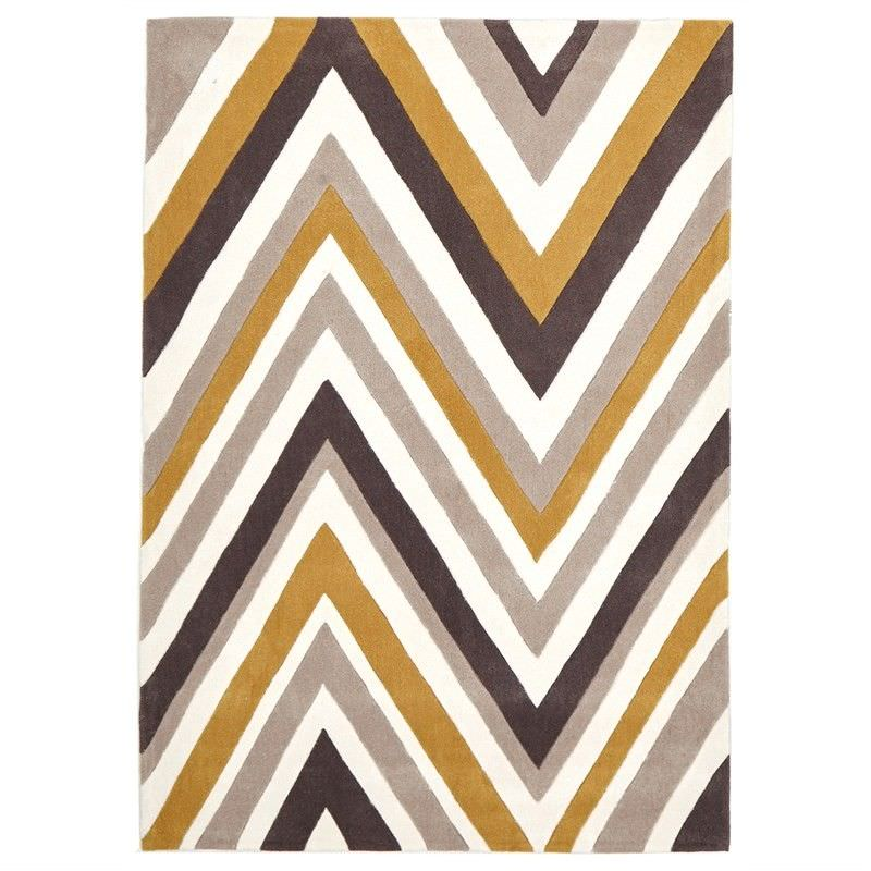 Narris Chevron Hand Tufted Rug in Yellow Tone - 225x155cm