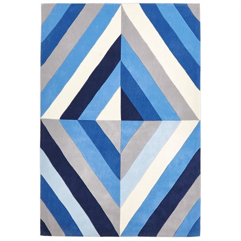 Narris Prism Hand Tufted Rug in Blue Tone - 165x115cm
