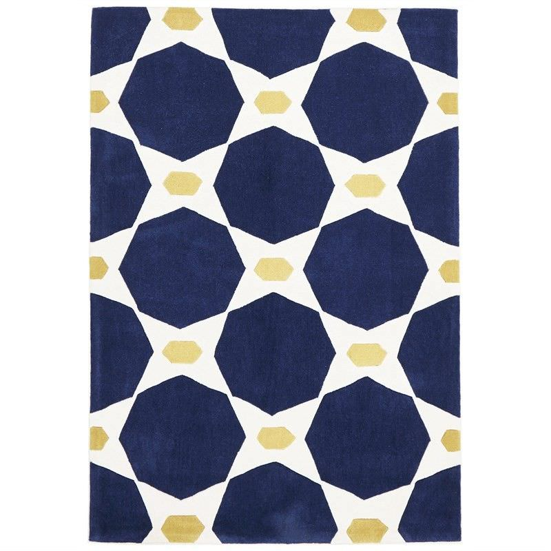 Narris Hive Hand Tufted Rug in Navy - 165x115cm