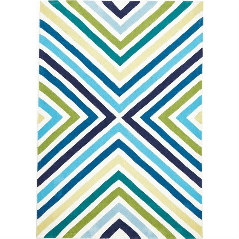 Narris Cross Roads Hand Tufted Rug in Blue and Green - 225x155cm