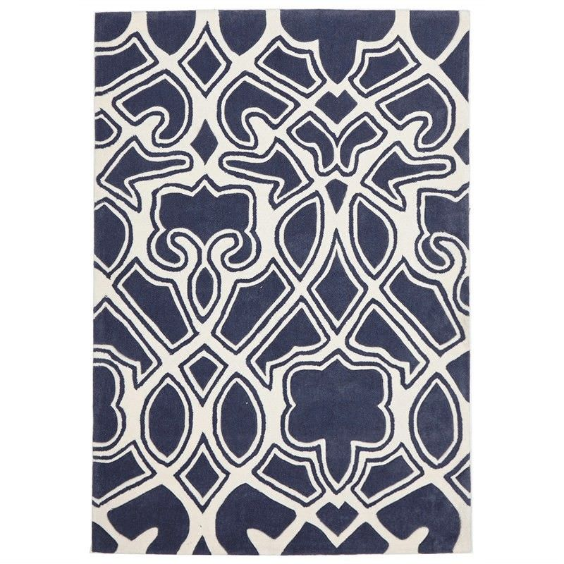 Narris Gothic Tribal Hand Tufted Rug in Slate - 165x115cm