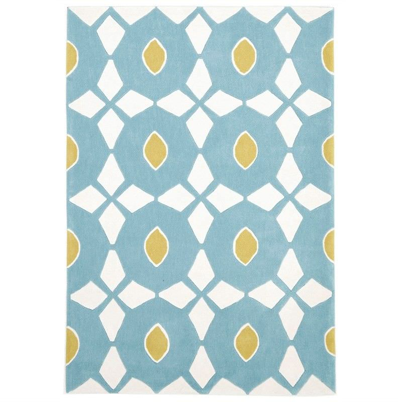 Narris Bead and Reel Hand Tufted Rug in Pale Blue - 225x155cm