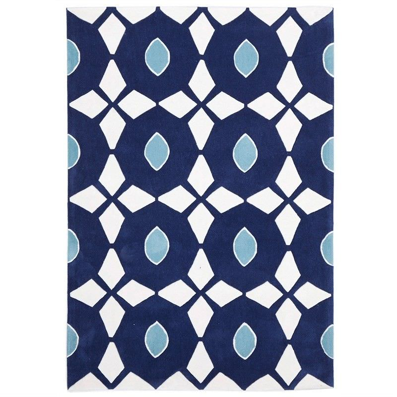 Narris Bead and Reel Hand Tufted Rug in Navy - 320x230cm