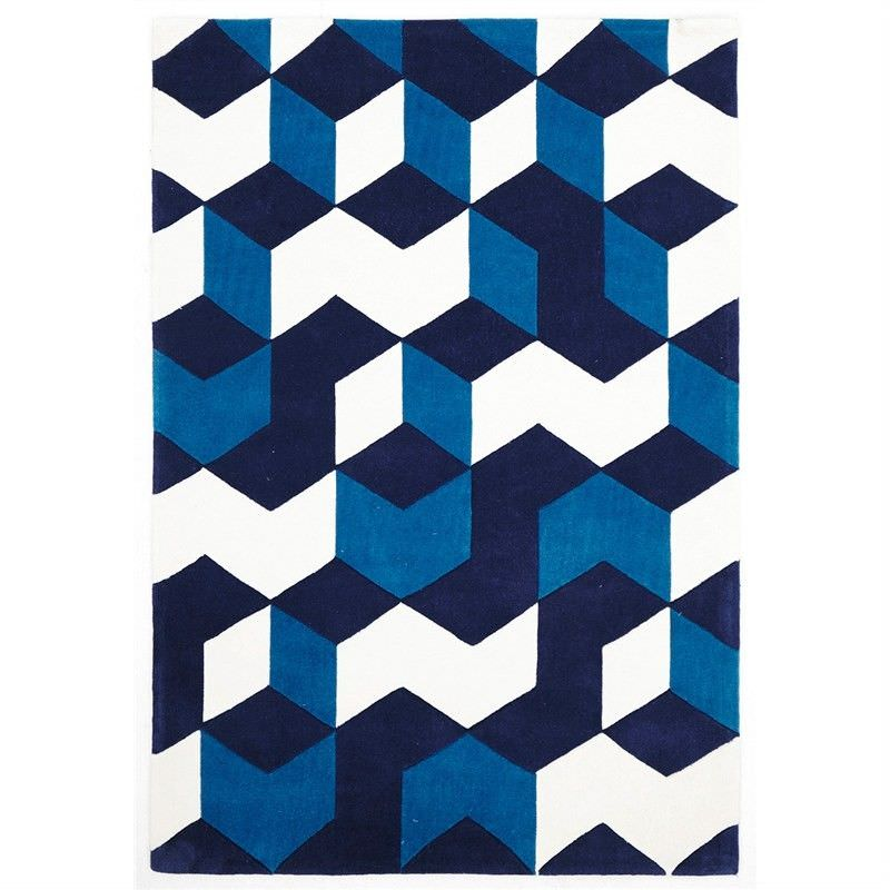 Narris Cube Hand Tufted Rug in Navy - 280x190cm