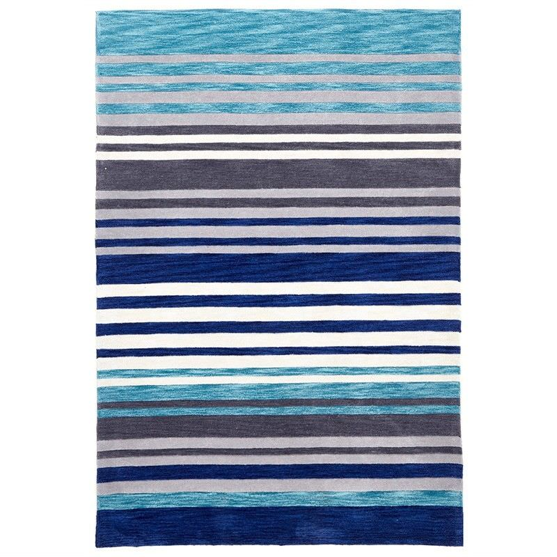 Abrash Stripes Hand Tufted Rug in Blue and Grey - 225x155cm