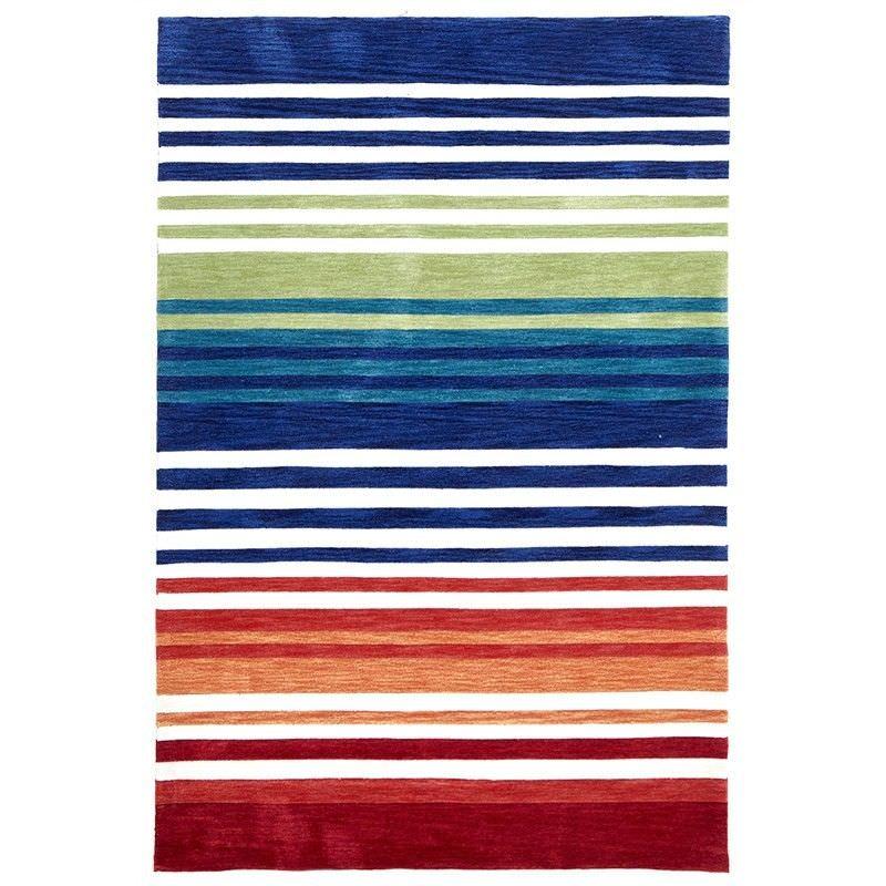 Abrash Stripes Hand Tufted Rug in Rainbow - 320x230cm
